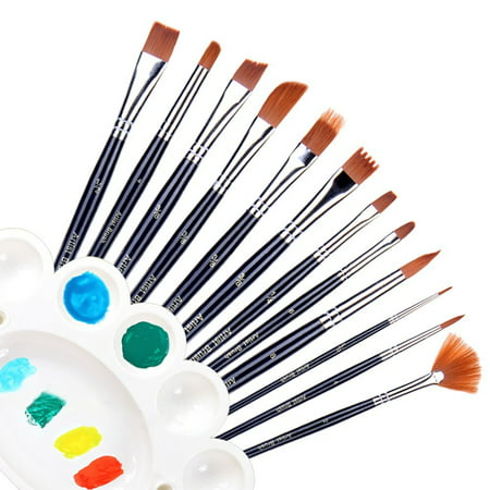 Ohuhu Oil Painting Brush 12pcs Nylon Hair Art Paint Brush Set for Watercolor, Acrylics, Oil Painting Supplies, BONUS A Color Palette ()
