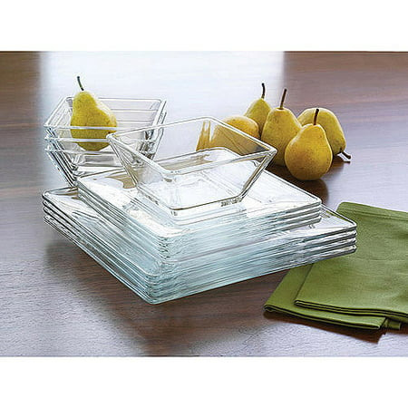 - Mainstays 12-Piece Square Clear Glass Dinnerware Set
