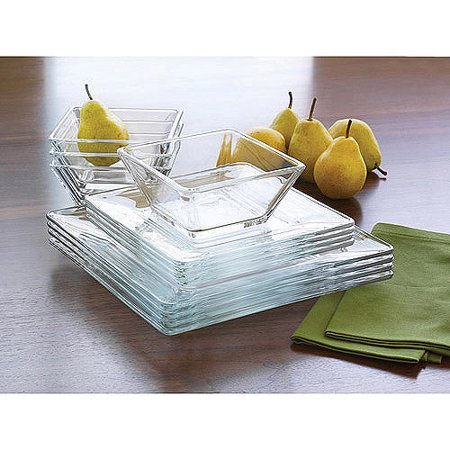 Mainstays 12 Piece Square Clear Gl Dinnerware Set