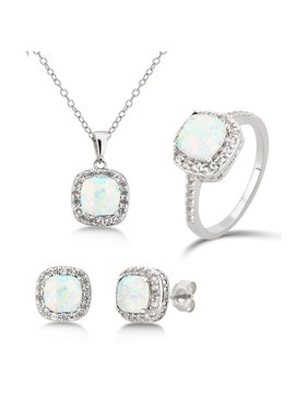 eb417a787 Product Image Diamond accent, Created Opel & White Sapphire Sterling Silver 3  pcs Jewelry Set
