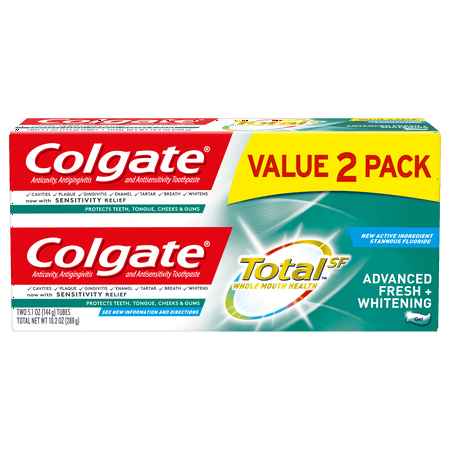 Colgate Total Whitening Toothpaste, Advanced Fresh + Whitening Gel, 5.1 oz. 2-pack Antiplaque Plus Whitening Gel Toothpaste
