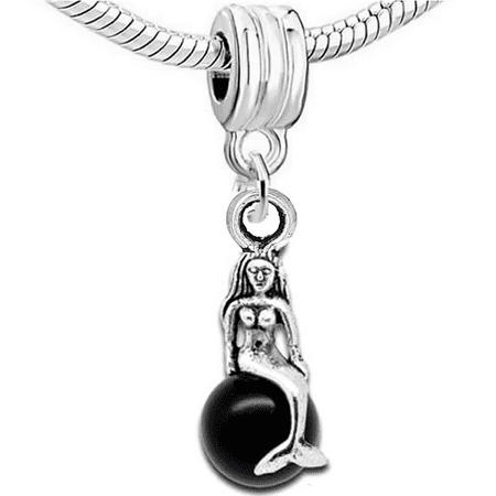Black Mermaid Charm Bead Spacer for European Snake Chain Charm Bracelets](Little Mermaid Charms)