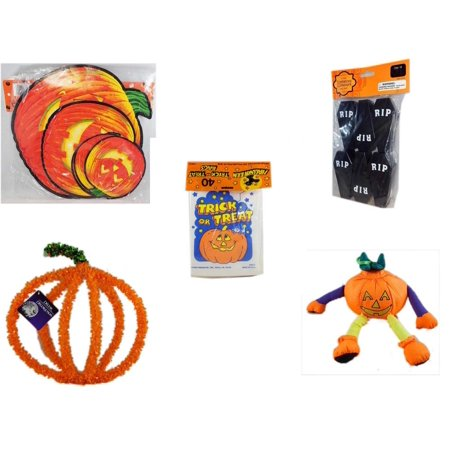 Halloween Fun Gift Bundle [5 Piece] - Classic Pumpkin Cutouts Set of 9 - Tombstone Containers Party Favors 6 Count -  Trick or Treat Bags 40/ct -  Pumpkin Plastic on Wire Decoration - Pumpkin Orname