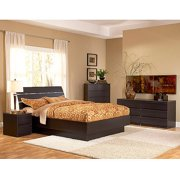 Laguna 4-Piece Queen Bed, Night Stand, Dresser and Chest Set, Lacquered Espresso