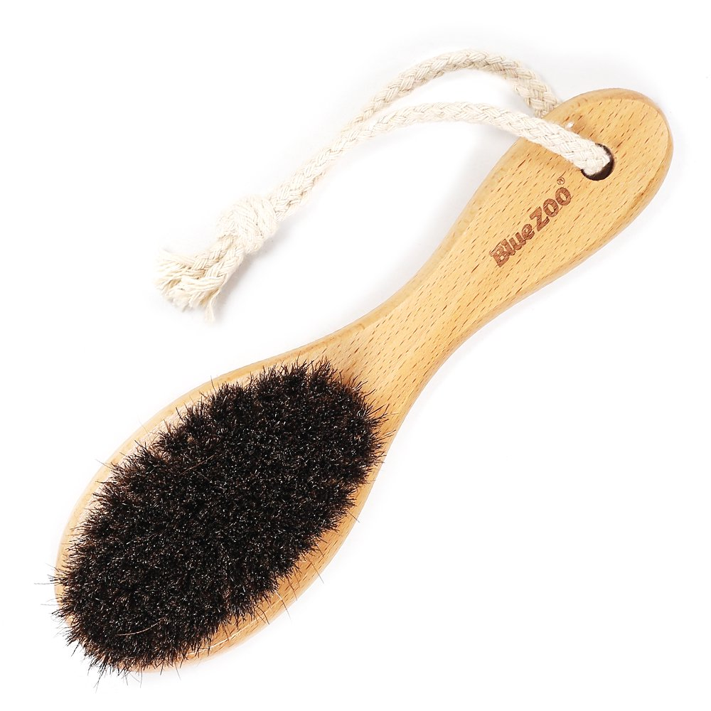 Blue ZOO Multi-functional 100% Natural Horse Hair Beard Brush/Hair  Brush/Bath Brush with Wooden Handle Body Massage Brush
