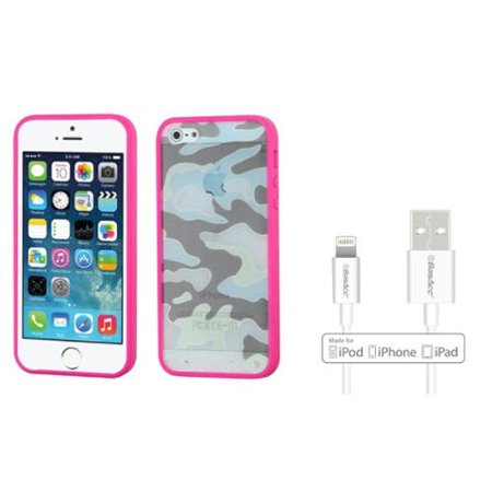 Insten Glassy Camo Hot Pink TPU Gummy Gel Case For iPhone SE 5S 5 (+ Apple Certified Lightning Cable) (Pink Gel Iphone 5 Case)