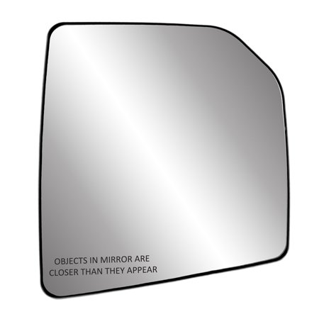 30307 - Fit System Passenger Side Heated Mirror Glass w/ backing plate, Ford F150 15-18, single lens, w/ o tow pkg, w/ o auto dimming, w/ o blind spot detection system, 7 15/ 16