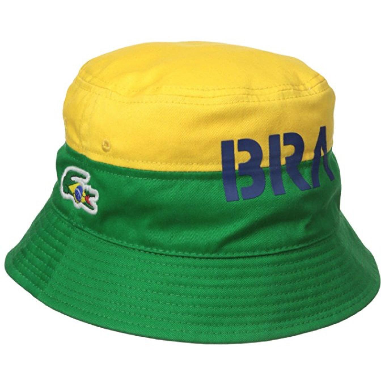 Lacoste Men's Sport Supporter Flag Brazil Croc Bucket Cap...