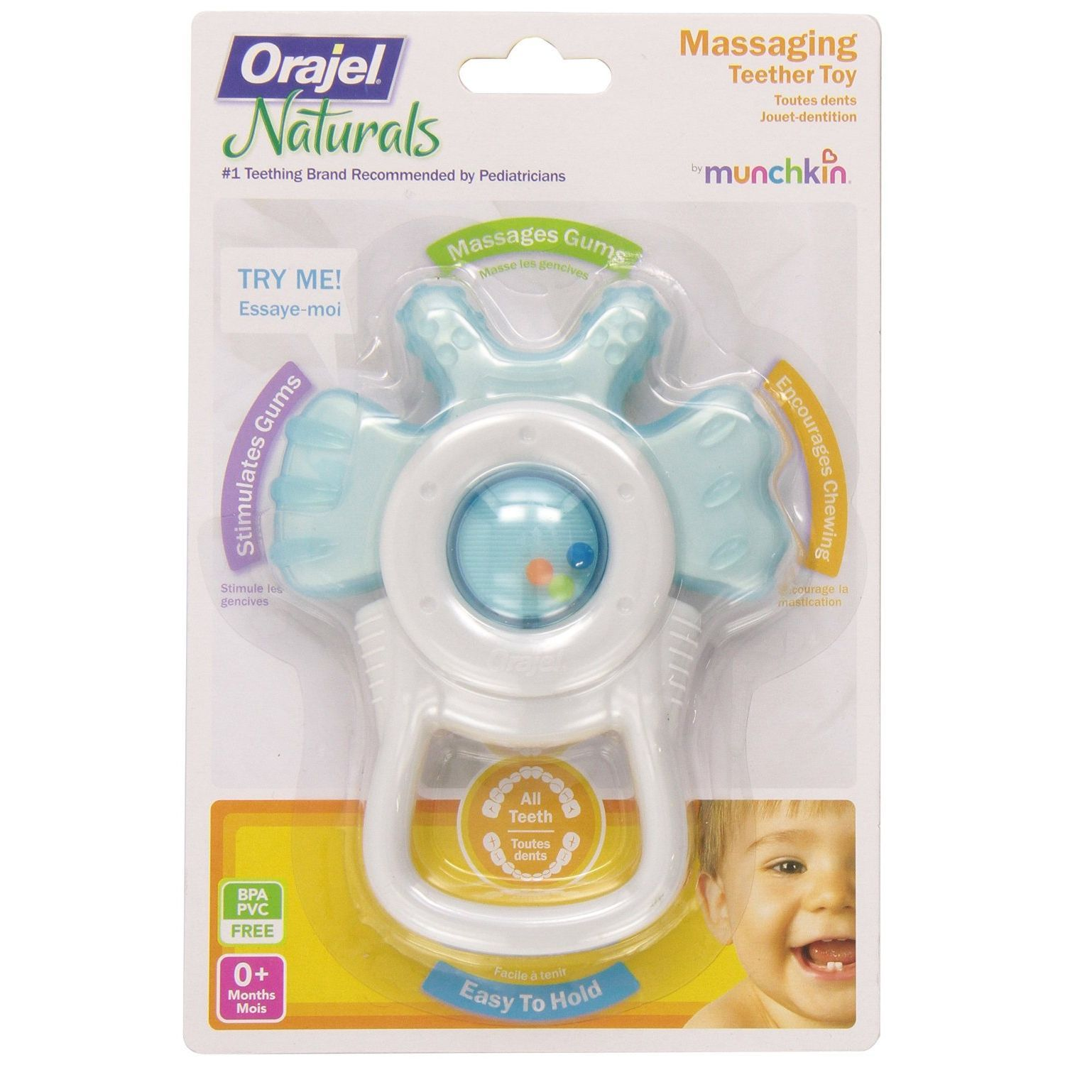 Munchkin Orajel Massaging Teether Toy with Bite Activation - Assorted Co