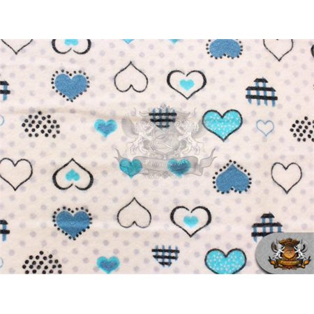 Cotton Flannel POLKA DOTS HEARTS BLUE Fabric / 45