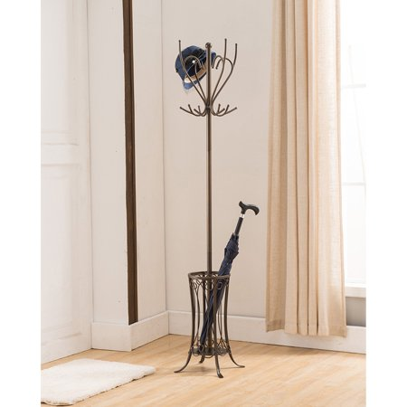 K&B Furniture Pewter Metal 12 Hook Hat and Coat Rack with Umbrella - Coat And Hat Rack
