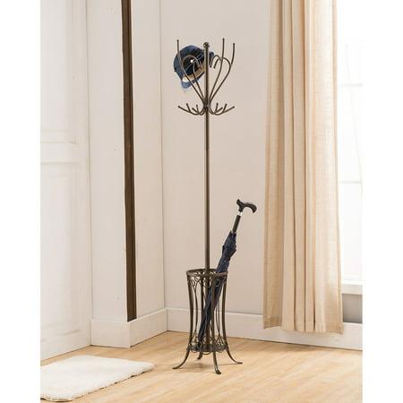 K&B Furniture Pewter Metal 12 Hook Hat and Coat Rack with Umbrella -