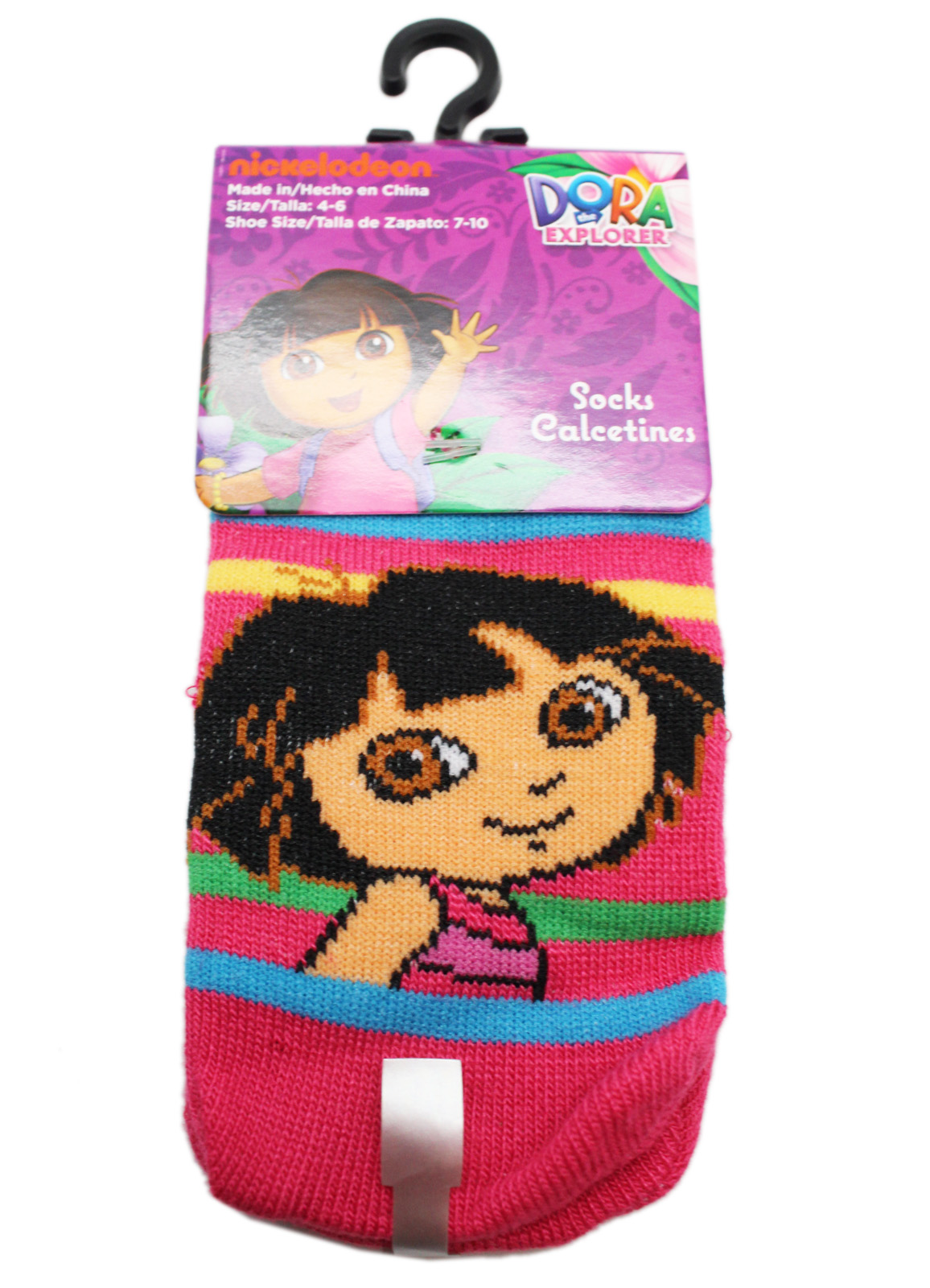 Dora the Explorer Striped Hot Pink Colored Toddler Socks (2 Pairs, Size 4-6)