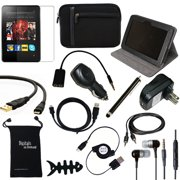 """DigitalsOnDemand ® 14-Item Accessory Bundle for Amazon Kindle Fire HD 8.9"""" 1st Gen Previous Model - Leather Case, Sleeve Cover, Screen Protector, HDMI Cable, USB Cables + Chargers"""