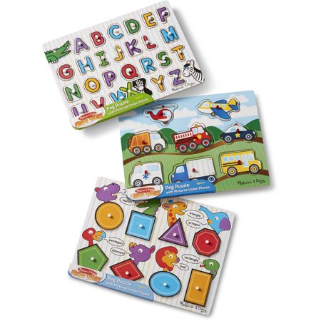 Melissa and Doug Wooden Peg Puzzles Set, Alphabet, Vehicles and (Doug Wooden Alphabet)