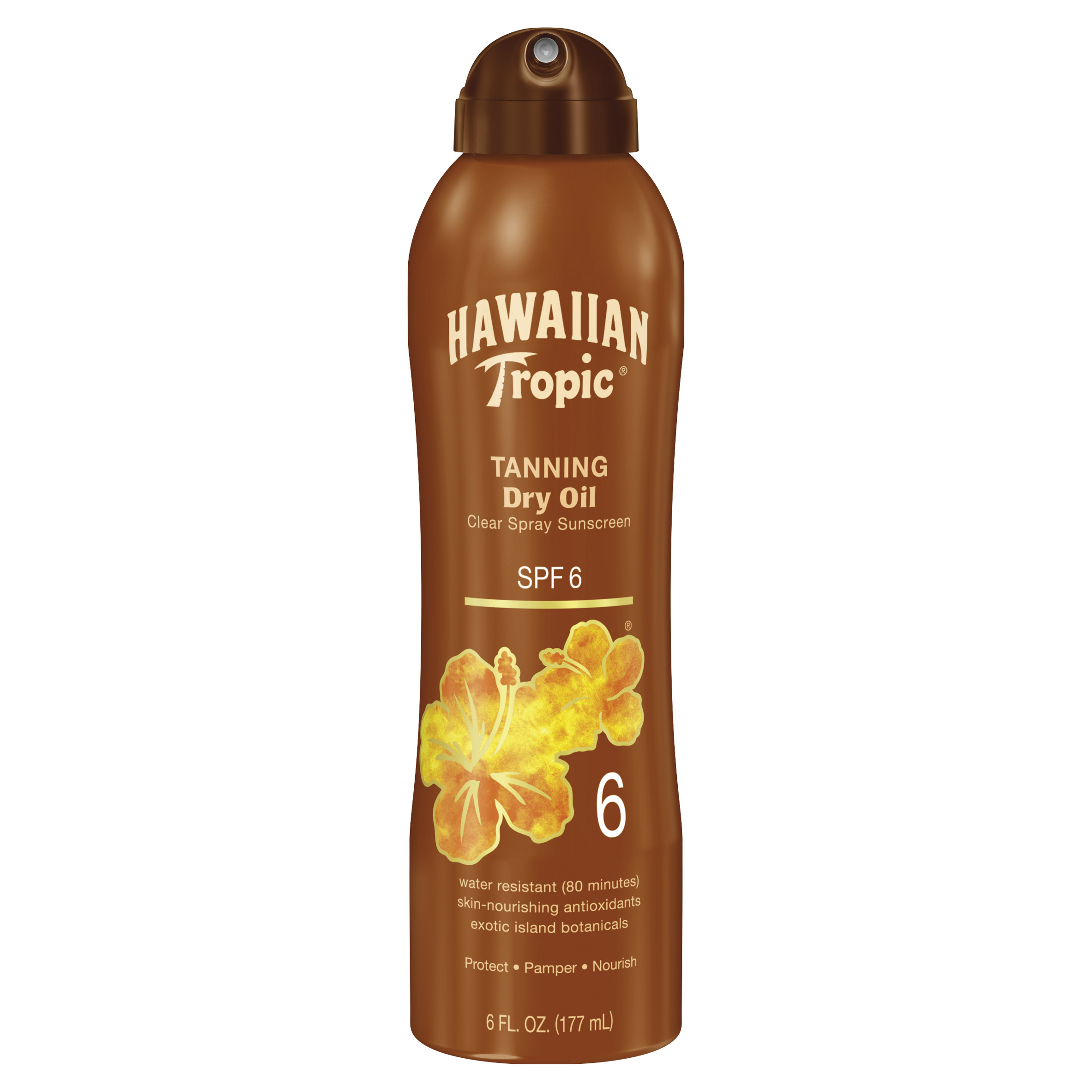 Hawaiian Tropic Dry Oil Clear Spray Sunscreen SPF 6, 6 oz