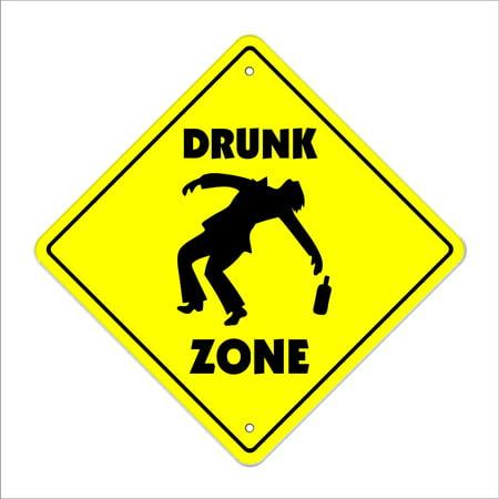 Drunk Crossing Sign Zone Xing | Indoor/Outdoor | 14