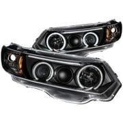 ANZO 2006-2011 Honda Civic Projector Headlights w/ Halo Black (CCFL)
