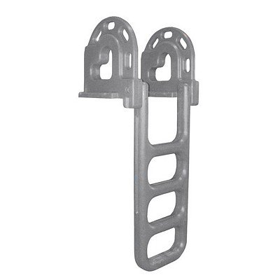 Dock Edge Flip-Up Polyethylene Roto Molded 4-Step Dock Ladder - Grey