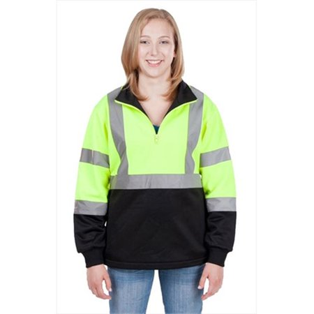 Utility Pro Wear Uhv66med High Visibility Green 1 4 Zip Ladies Soft Shell Jacket   Medium