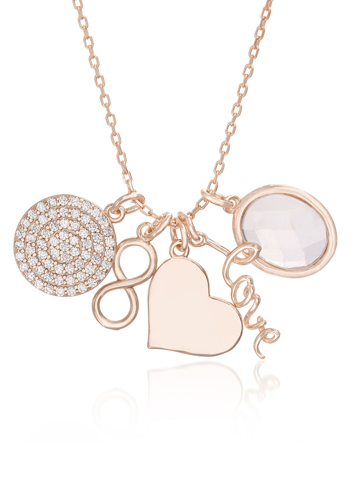 Lesa Michele Cubic Zirconia Disc, Infinity, Heart, Love & Oval Charm Necklace in Rose Gold over Sterling Silver