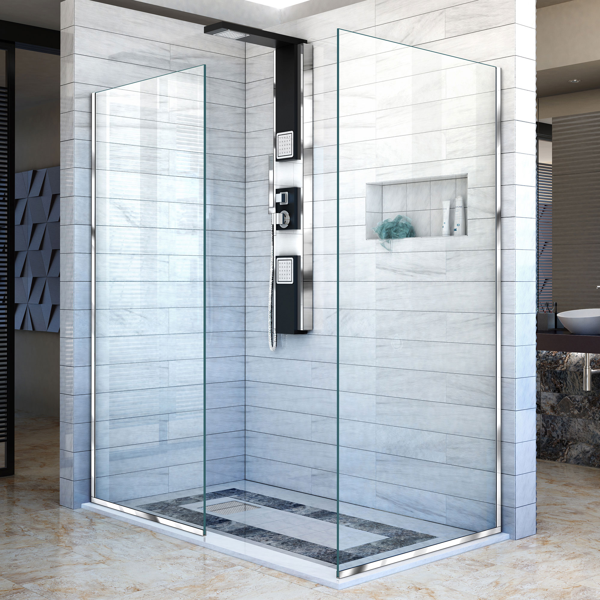 DreamLine Linea Two Individual Frameless Shower Screens 34 in. and 30 in. W x 72 in. H, Open Entry Design in Chrome