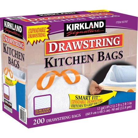 Kirkland Signature Drawstring Kitchen Trash Bags 13 Gallon 200