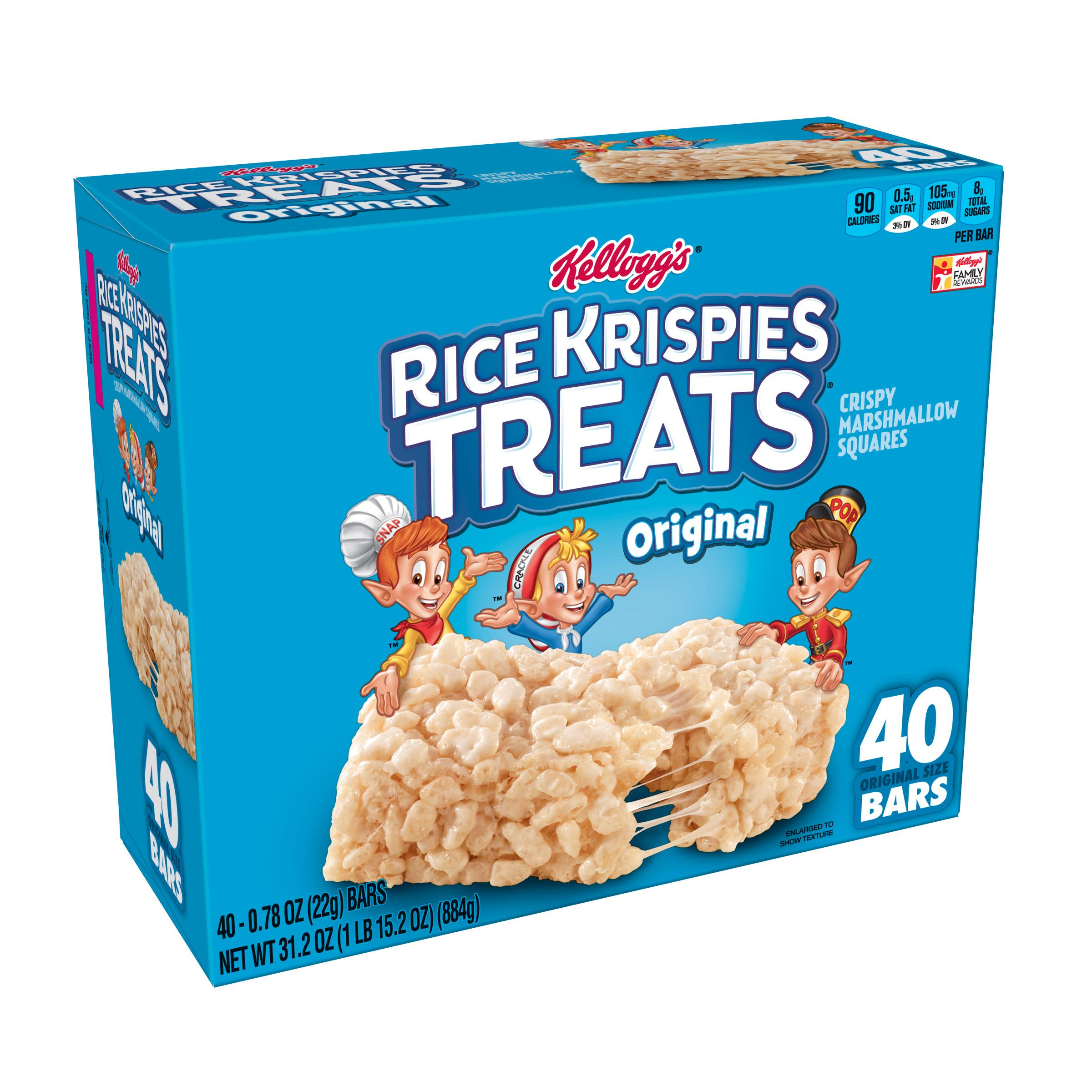 Kellogg's Rice Krispies Treats, Crispy Marshmallow Squares 0.78 oz Bars 40 Ct