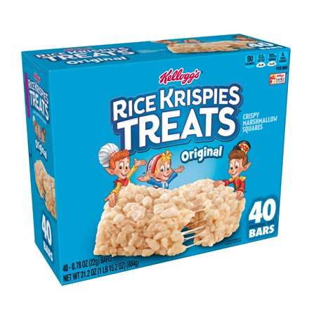 Kellogg's Rice Krispies Treats Crispy Marshmallow Squares Bars 31.2oz 40 Ct
