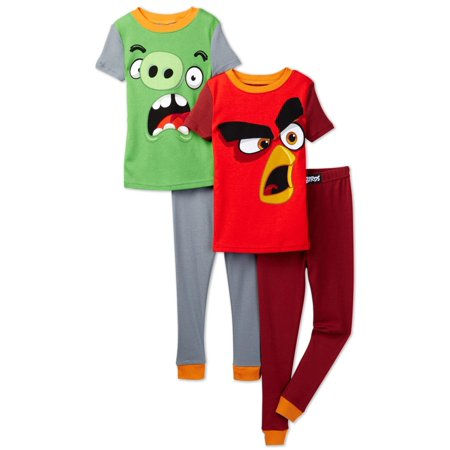 Angry Birds Big Boys' 4pc Cotton Sleepwear Set, Multicolor, Size: 8 - Angry Birds Outfit