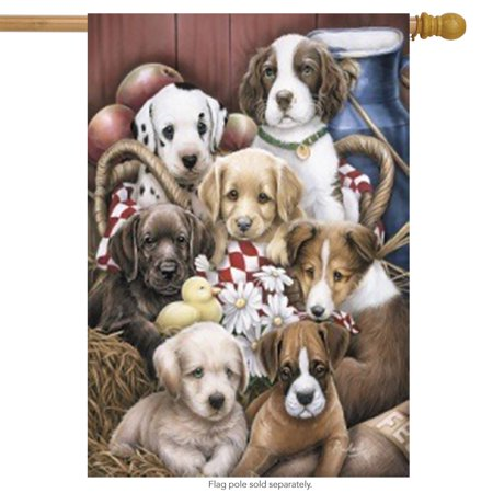 Puppy Pals Summer House Flag Puppies Flowers Barn Large Banner 28
