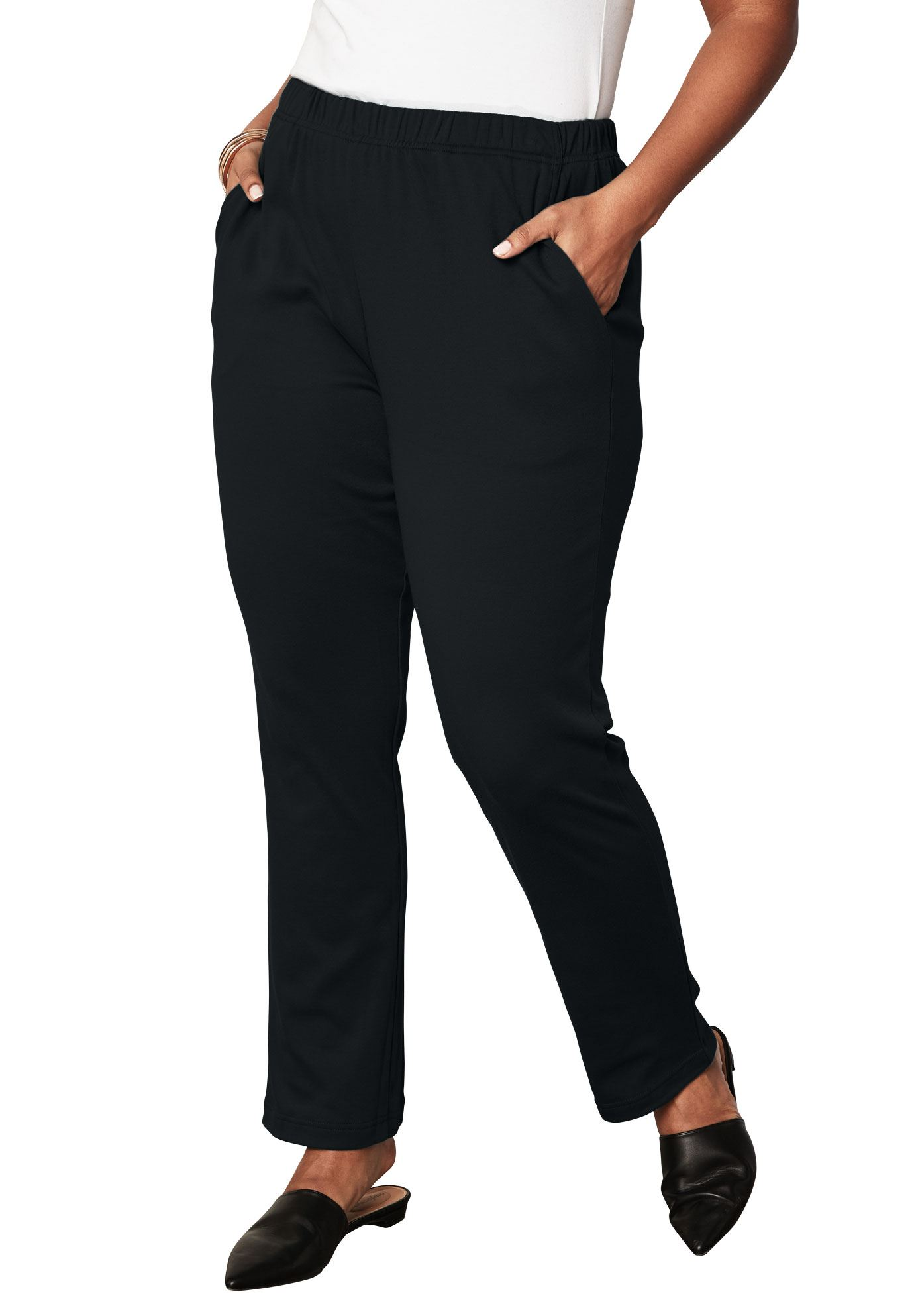 Roaman's Plus Size Petite Soft Knit Straight-leg Pants