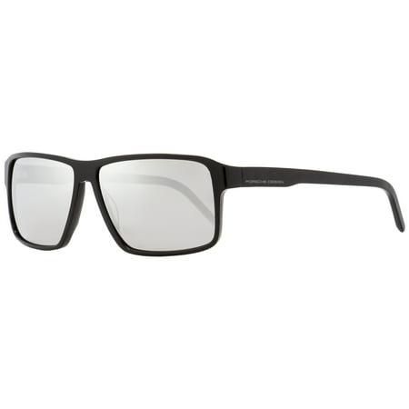 90ea80e071dbd3 Porsche Design Rectangular Sunglasses P8634 A Shiny Black 58mm 8634 -  Walmart.com