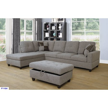 For-U Furnishing Gray Brown Linen Sectional Sofa, Left Facing Chaise, 74.5