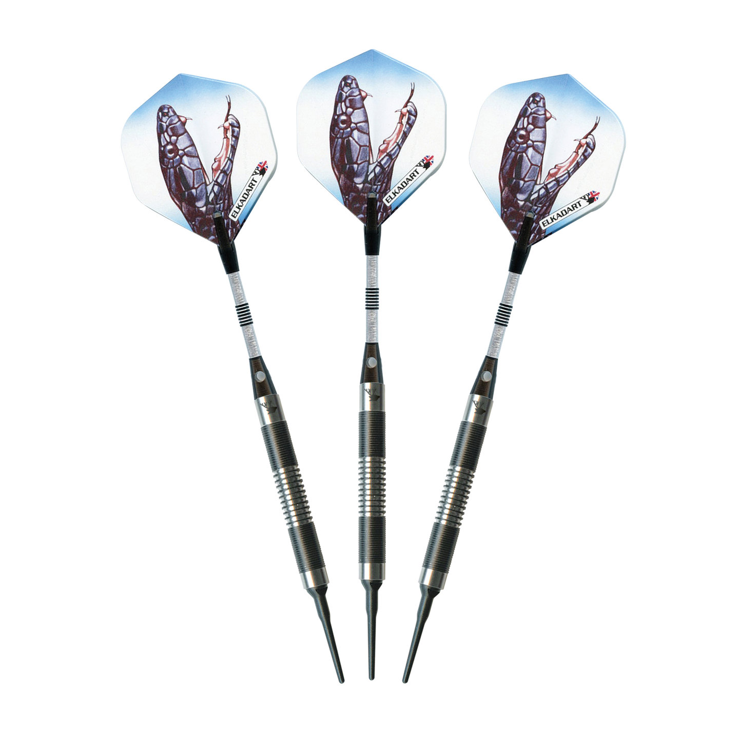 Elkadart Black Mamba Tungsten Soft Tip Darts, Thin Barrel, 16g