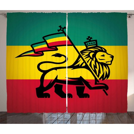 Rasta Curtains 2 Panels Set, Judah Lion with a Rastafari Flag King Jungle Reggae Theme Art Print, Window Drapes for Living Room Bedroom, 108W X 96L Inches, Black Green Yellow and Red, by Ambesonne King Panel Set
