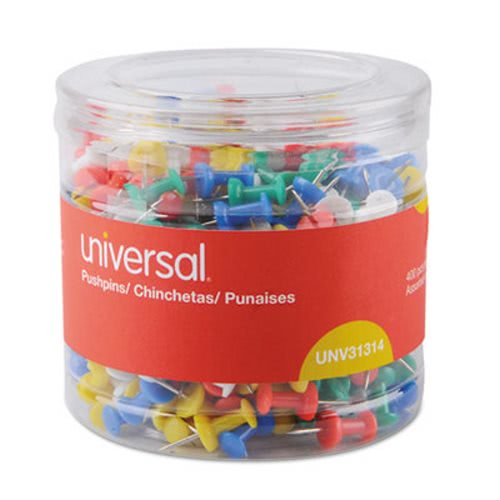 """Universal Colored Push Pins, Plastic, Assorted, 3/8"""", 400/Pack (UNV31314)"""