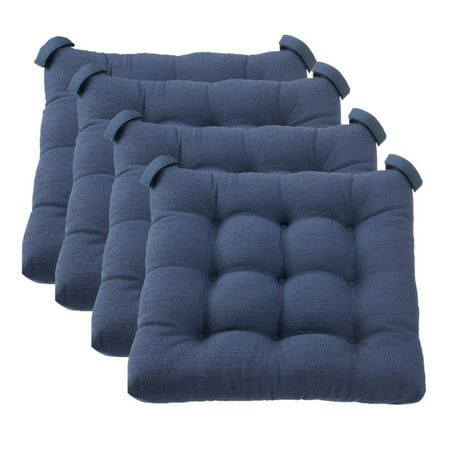 Mainstays Textured Chair Seat Pad (Chair Cushion), Navy Color, 4-Piece Set