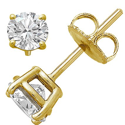 18k Brilliant Cut Stud - AAA Round Brilliant Cut Cubic Zirconia Stud Earrings in Yellow Gold Plated