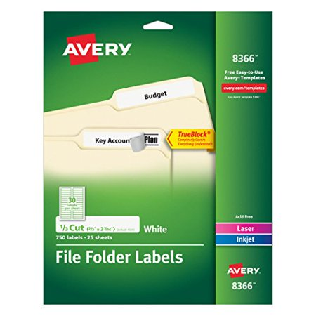 Avery File Folder Labels for Laser and Inkjet Printers, 0.6 x 3.43 Inches, White, Pack of 750 - Avery Laser Printer File Folder