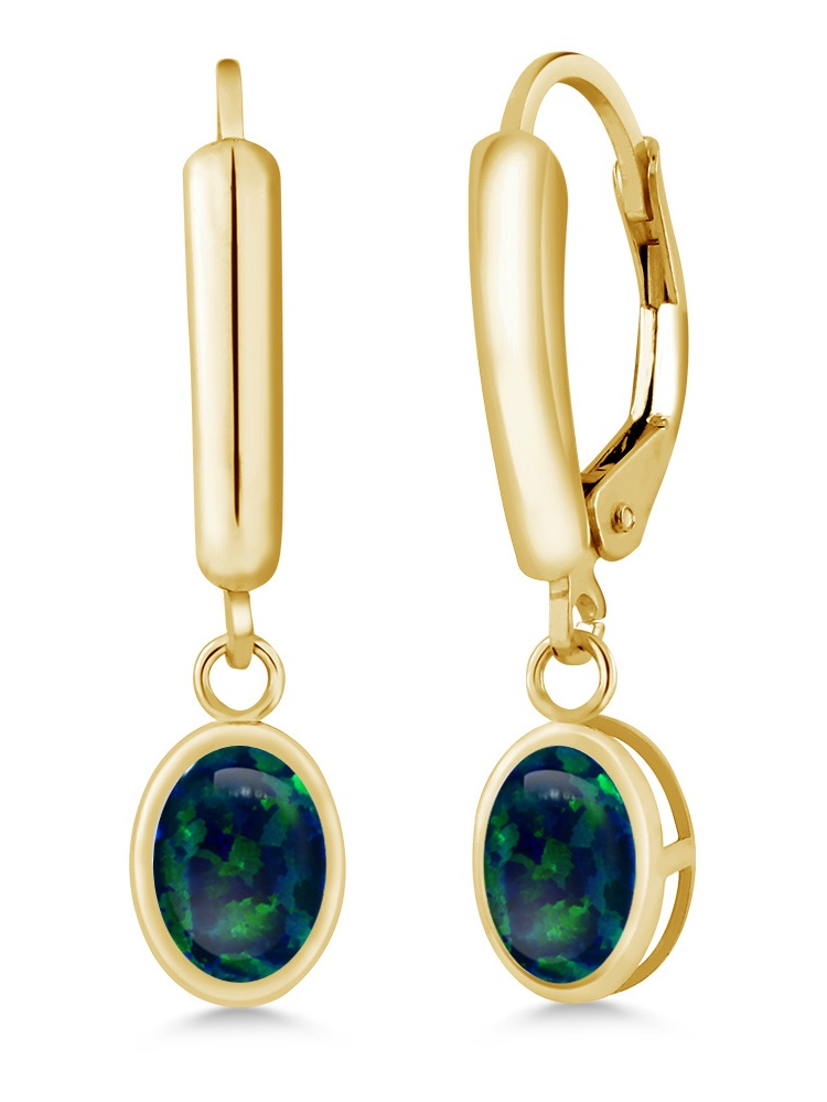 1.26 Ct Oval Cabochon Green Simulated Opal 14K Yellow Gold Earrings by