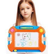 Magnetic Drawing Board for Toddlers(Two Stampers),Large 13.7? X 9.3?Inch Magna Doodle Writing Pad Comes with a 4-Color, Toddlers Toys A Etch Toddler Sketch Colorful Erasable.