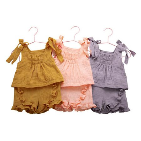 Princess Girls Summer Clothes Sweet Toddler Kids Girl Suspenders Cotton Linen Tops Mini Dress Shorts Outfits Set Clothes 1-6Y