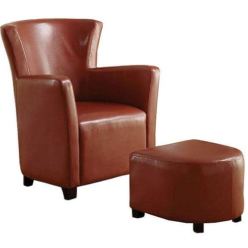 Venetian Half Moon Bay II Leatherette Club Chair with Ottoman, Mahogany Red