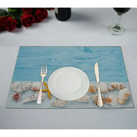 GCKG Ocean Beach Theme Placemat, Starfish and Seashells on Blue Wooden Background Placemat 12x18 Inch,Set of 2