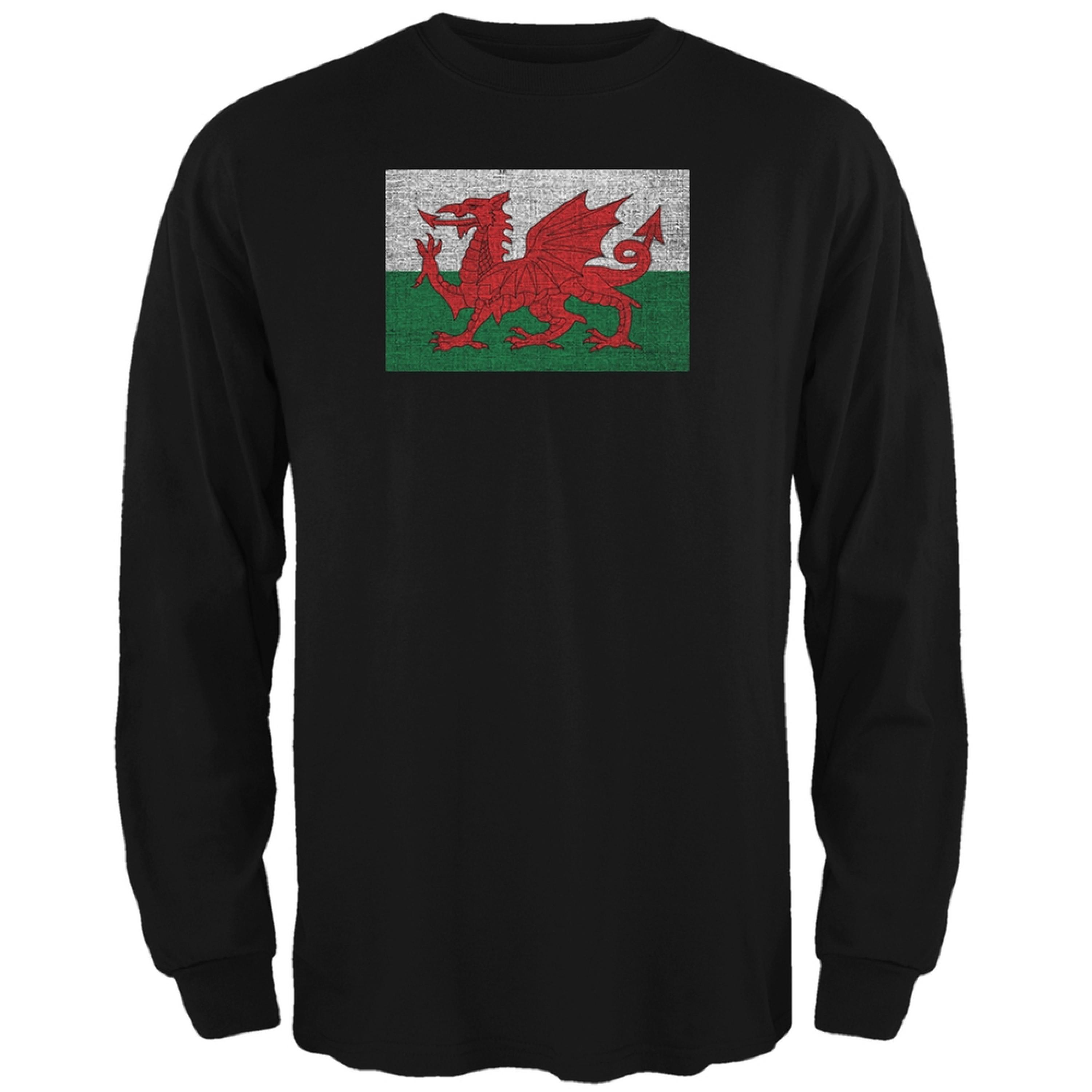 Welsh Flag Distressed Black Adult Long Sleeve T-Shirt