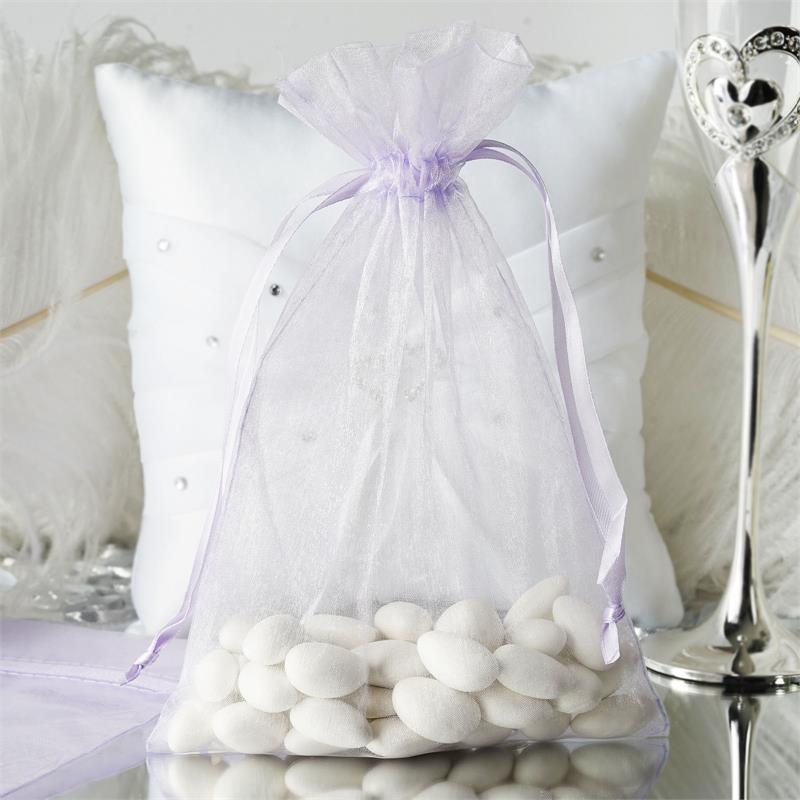 "Efavormart 50PCS  Organza Gift Bag Drawstring Pouch for Wedding Party Favor Jewelry Candy Sheer Organza Bags - 6""x9"""