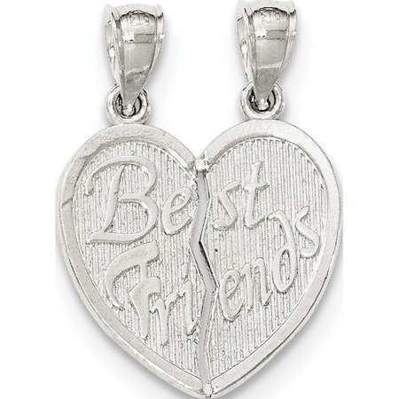 Leslies Fine Jewelry Designer 925 Sterling Silver Polished Best Friends Break Apart Heart Pendant (Best Friend In Polish)