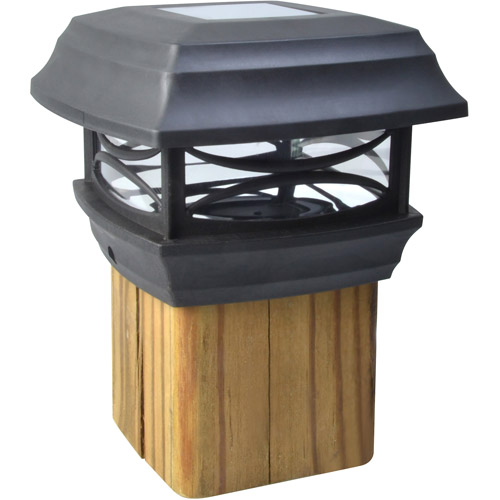 Moonrays 91253 Solar Powered LED Post Cap Light, 4-Inch by 4-Inch Post, Black Finish by Coleman Cable Inc