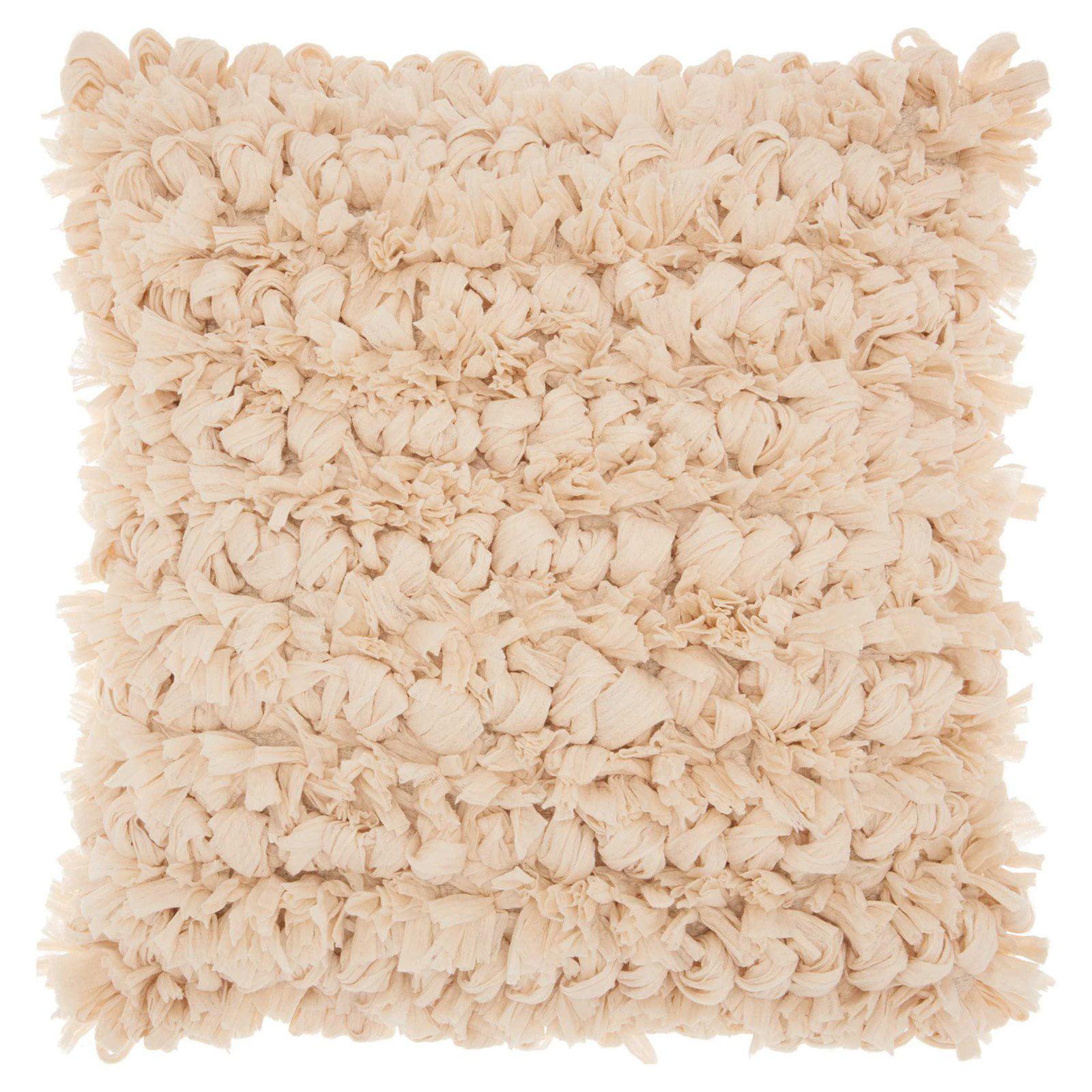 "Nourison Paper Loop Shag Decorative Throw Pillow, 20"" x 20"", Rose"